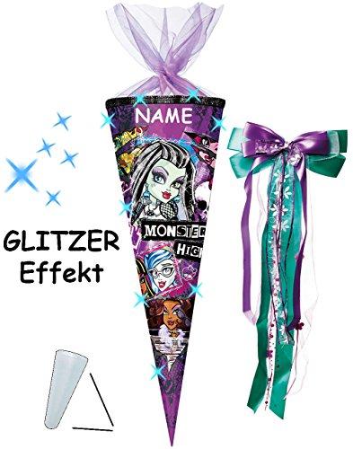 alles-meine.de GmbH mit 3-D Glitzer Effekt ! - Schultüte -  Monster High - Schaurig schräg  - 85 cm / 12 eckig - incl. Namen und große Schleife - Organza Abschluß - Zuckertüte ..