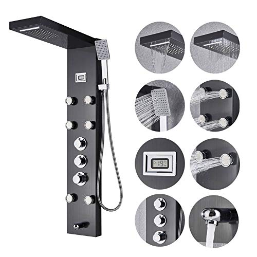 Votamuta Wall Mounted Shower Panels System Three Handles Bathroom Waterfall Rainfall Shower Tower with 6 Massage Jets and Hand Sprayer Head Black Color