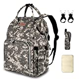 Diaper Bag Backpack with USB Charging Port Stroller Straps Insulated Pocket and Changing Pad,...