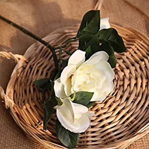 Artificial and Dried Flower 4Colors 3 Heads Silk Gardenia Artificial Flower Wedding Silk Flowers for Home Wedding Decoration Party Fake Flower