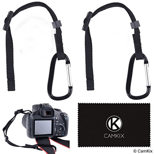 2X Camera Tether with Carabiner - 2X Screw - Double Secure Your DSLR or Compact Camera - Attach Tether to Camera Eyelet - Then Hook Up to Camera Strap, Tripod, Monopod, etc. - Extra Protection