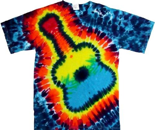 Tie Dyed Shop Rainbow Guitar Tie Dye Shirt for Men Women Short Sleeve-3X-Multicolored
