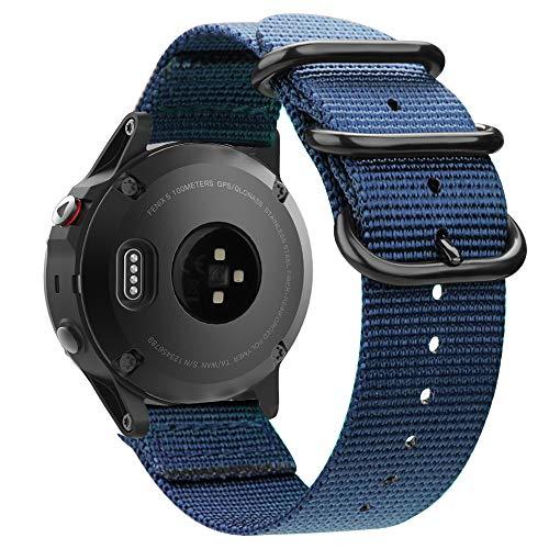FINTIE Cinturino Compatible con Garmin Fenix 5/Fenix 5 Plus/Forerunner 935 945 Smartwatch - Nylon Cinturino di Ricambio Regolabile Sport Band con Fibbia Metallica, Blu Scuro