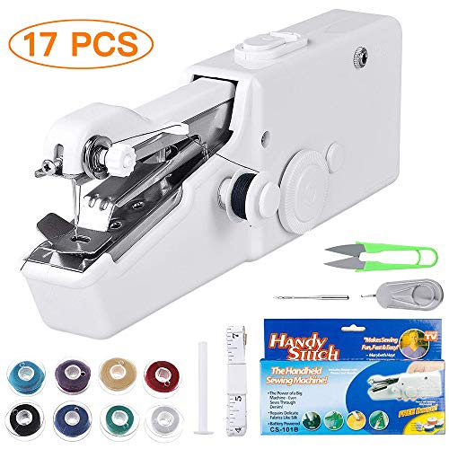 Handheld Sewing Machine, Cordless Portable Mini Electric Sewing Machine for Kids/Beginners to Quick Handy Stitch Clothes for Home or Travel Use