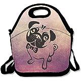 Pugs Dog Portable grandi e spessi neoprene lunch Bags lunch Tote Bags Cooler calda calda borsa con tracolla per le donne teenager ragazze bambini adulti