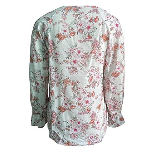 FOTBIMK Camisa de las mujeres lazo flores impresión gasa Tops manga larga blusa Casual V-cuello túnica suelta, blanco, XXL