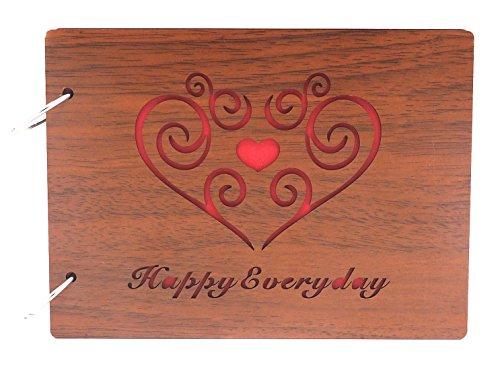 Smiling Art Fotoalbum zum selbst gestalten/basteln, Fotoalbum zum einkleben, DIY Scrapbook, Fotobuch, Tagebuch, Reisebuch, Vintage Style mit einem Deckblatt aus MDF Holz (Happy Everyday, 22x16 cm)