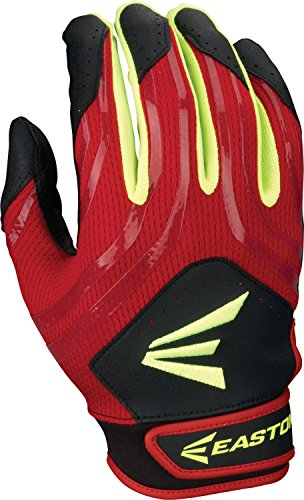 EASTON HF3 Hyperskin Fastpitch Batting Gloves   Pair   Adult Large   Red / Green / White