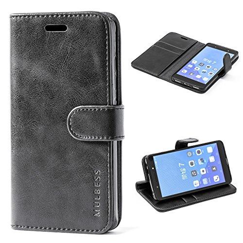 Mulbess Handyhülle für Huawei Honor 7 Hülle Leder, Honor 7 Handytasche, Vintage Flip Schutzhülle für Huawei Honor 7 Hülle, Schwarz