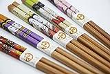 Exzact CS05 Essstäbchen Geschenkset - 5 Paar Wiederverwendbare natürliche Bambus Essstäbchen - 2