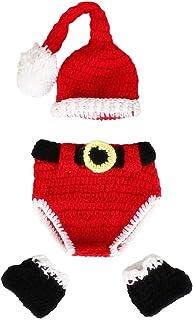 Toyvian Navidad recién Nacido Disfraz Punto de Ganchillo Papá Noel Sombreros Pantalones y Calcetines Accesorios de fotografía