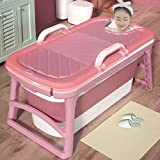 Erwachsene Badewanne, Weich Folding Badewanne, Haus Gesundheit Badewanne, Doppel-U-förmige Armlehne, Folding Lagerung, Mit/Ohne Abdeckung, Babypool (Color : Pink, Size : with Cover)