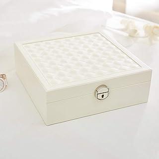 Jewelry Organizers for Women Creative Wooden Jewelry Storage Box Travel with Mirror,White
