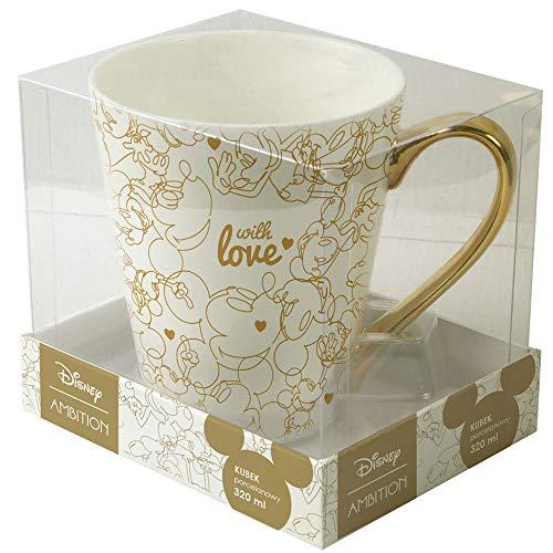 Ambition 92605 Disney Mickey Herzen dekorative Geschenk Verpackung 320 ml Trinkbecher Porzellanbecher Teebecher Kaffeebecher Kinder Tasse modern elegant Gold Porzellan mit Henkel