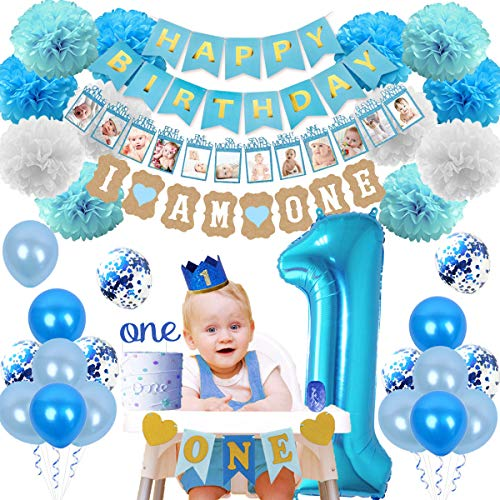 1st Birthday Decorations Kit for Boy I Am One Bunting, High Chair Banner, First Foil and Confetti Balloons, Baby Crown, Photo Garland Birthday Party Supplies