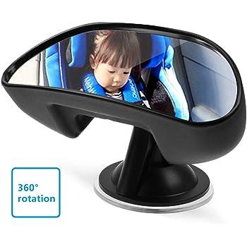 UEOTO Auto pour bébé Miroir, Rétroviseur intérieur pour bébé Miroir Auto pour Enfant antidérapant avec Ventouse, Rotation à 360° à l'arrière Face à bébé Banquette arrière View Miroir Noir