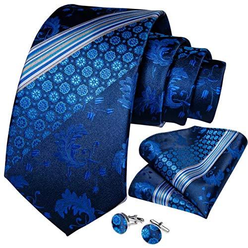 GPZFLGYN Cravatte da uomo Cravatta da sposa a righe bianche blu navy per uomo Cravatta in seta con gemelli Hanky Set novità per affari