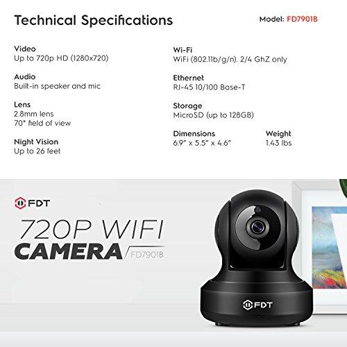 FDT 720P HD WiFi Pan/Tilt IP Camera (1.0 Megapixel) Indoor Wireless Security Camera FD7901 (Black), Plug & Play, Two-Way Audio & Nightvision