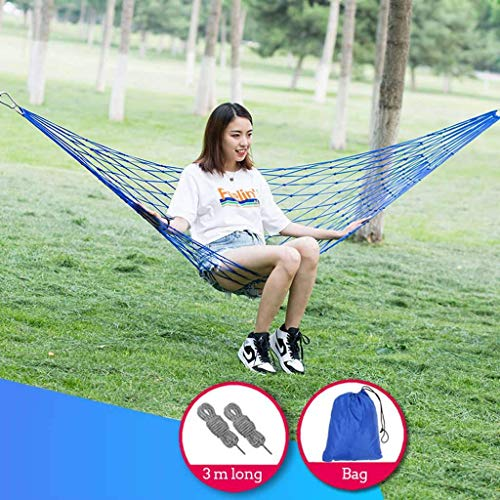 LUNAH Rope Hammock With Carry Bag, Leisure Swing Bed With Hooks & Carabiners Tree Straps Load Capacity Up To 150kg For Indoor Outdoor Camping Hammock-green