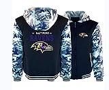 YB-DB NFL Sweats à Capuche Ravens de Baltimore pour Hommes Zip Pull Thicken Sweats à Capuche Top Chemisier Survêtements Sport à Manches Longues Imprimer Sweat-Shirt décontracté,Noir,L
