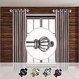 Rod Desyne Home Decorative Selma 1' Diameter Side Window Curtain Rod 12-20' Long (Set of 2) - Satin Nickel