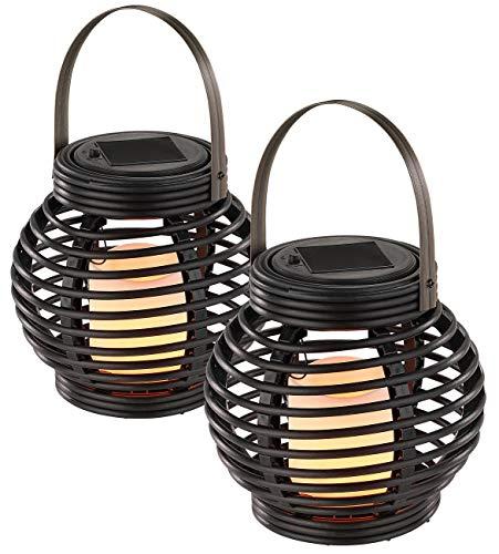 Lunartec Gartenlicht: Solar LED Rattanleuchte zum hängen oder Stellen 2er-Set (Solar Polyrattan-Laternen)