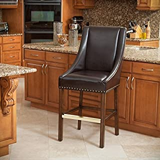 Christopher Knight Home 295338 Marcus Brown Leather Bar Stool
