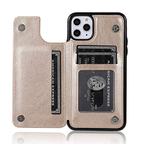 ACXLIFE iPhone 11 Pro Max Case 11Pro Max Wallet Credit Card Holder Case,Protective Cover with Card Slot Holder and Leather Case for iPhone 11Pro Max 6.5 Inch (Golden)