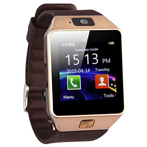 SODIAL(R) DZ09 Bluetooth Orologio cellulare intelligente per Samsung iphone HTC Android Phone mit Camera SIM d¡¯oro
