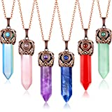 Yaomiao 6 Pieces Crystals and Healing Stones Jewelry Antique Wrapped Spiritual Crystal Necklaces Hexagonal Quartz Stones Pointed Crystal Prisms Gemstone Pendants for Women Girls Men Presents