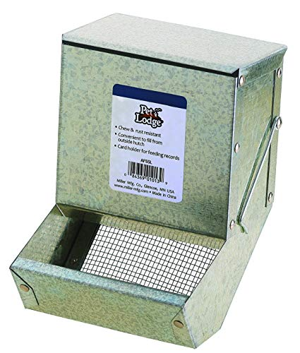 Pet Lodge Steel Small Animal Feeder with Lid and Sifter Bottom Small Animal Feed Box, Hold Several...