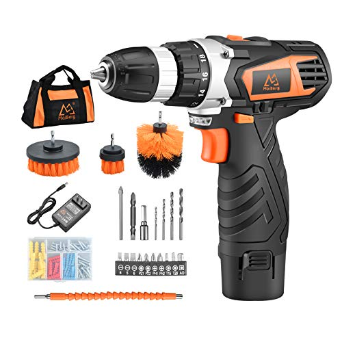 MAIBERG Cordless Drill Driver Set, 12V Battery Electric Power Drill with 3/8 inches Keyless Chuck, 2 Variable Speed, 23pcs Accessories include Drywall Anchor Screws, Brushes, Drill Bits and Soft Bag