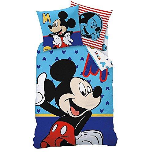 "Linon Kinder Bettwäsche Mickey Mouse "" Motiv Sitting "" 135 x 200 cm + 80 x 80 cm Neu & Ovp 100% Baumwolle Micky Maus"