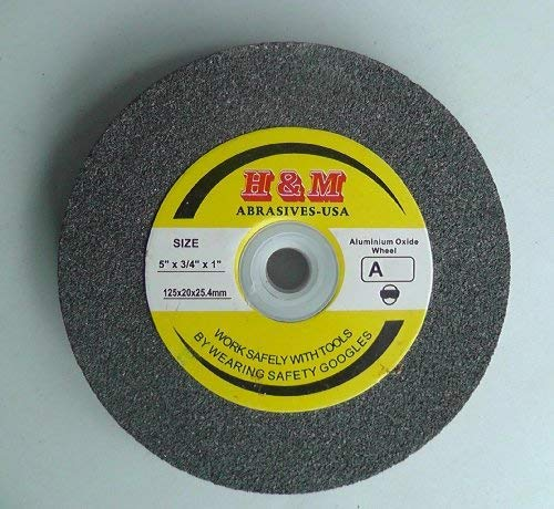 5' x 3/4' x 1' BENCH GRINDING WHEEL 100 grit Vitrified 1' Arbor includes 3/4' 5/8' 1/2' Bushing