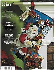 Bucilla The Workshop Kit de apliques de fieltro para medias navideñas, 45,7 cm