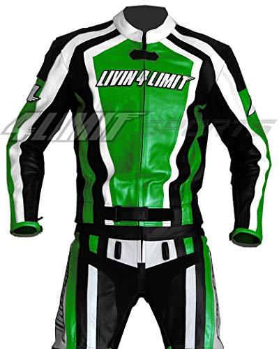 4LIMIT Sport Motorfiets Lederen Biker Pak Laguna Seca Tweedelig, Groen-Zwart-Wit, Maat: XL