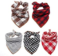 TRAVEL BUS Dog Bandana- 5pcs Washable Dog Bandanas Square Plaid Printing Dog Kerchief Set Scarf Accessories for Small to Large Dogs Cats Pets Reversible
