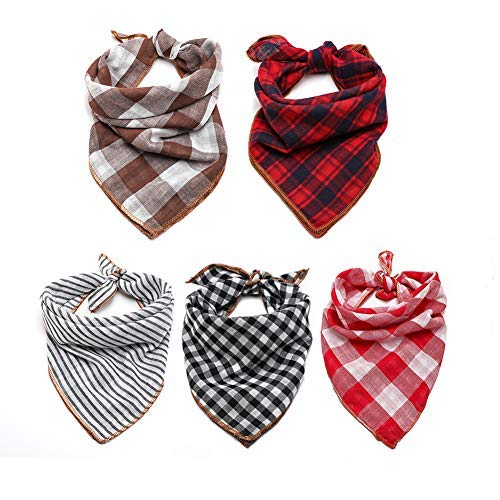 TRAVEL BUS Dog Bandana- 5pcs Washable Dog Bandanas Square Reversible Plaid Stripe Printing Dog Kerchief Set Scarf Accessories for Small to Large Dogs Cats Pets