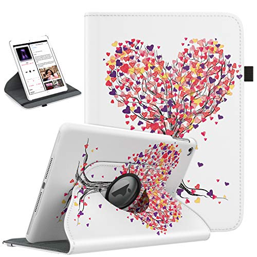 TiMOVO Case Compatible with iPad 9.7 2018/2017, iPad Air 2, iPad Air - 360 Degree Rotating Smart Leather Swivel Case with Pencil Holder, Auto Wake/Sleep Fit iPad 5/6th Gen/iPad Air 1/2 - Love Tree