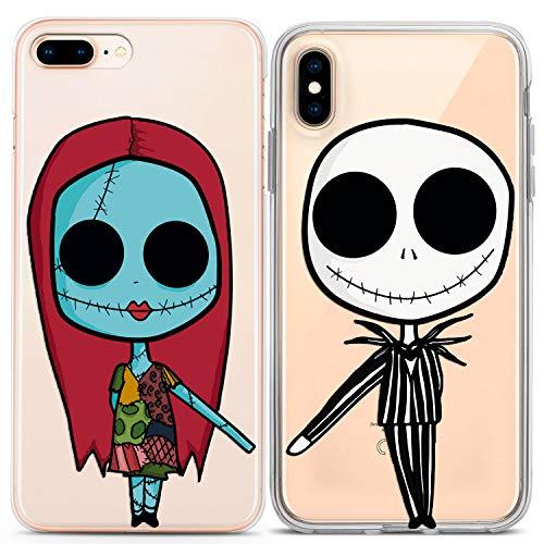 Lex Altern Couple Case for iPhone 11 Pro Xs Max 10 X Xr 8 Plus 7 6s SE 5s Skeleton Boyfriend Jack Soulmate Protective Girlfriend Flexible Halloween Clear Sally Cute Kawaii Print Christmas
