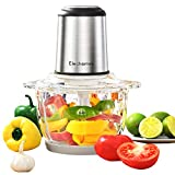 Electric Food Processor & Vegetable Chopper, Elechomes High Capacity 8-Cup Multi-Purpose Blender Grinder for Meat, Onion, Nuts, Powerful 300W Motor&4 Detachable Dual Layer Tough Stainless Steel Blades, BPA-Free Glass Bowl, Free Bottom Anti-Slip Mat