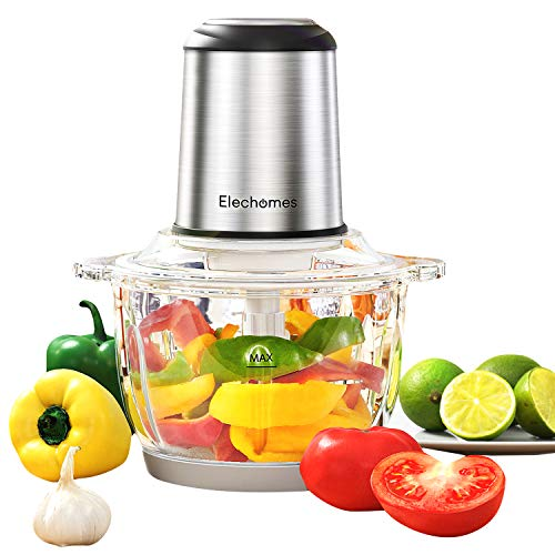 Electric Food Processor & Food Chopper, Elechomes High Capacity 8-Cup Blender Meat Grinders for Onion Nuts, Powerful 300W Motor & 4 Detachable Dual Layer Tough Stainless Steel Blades,2L BPA-Free Glass Bowl, Visible Food Processing, Free Bottom Anti-Slip Mat
