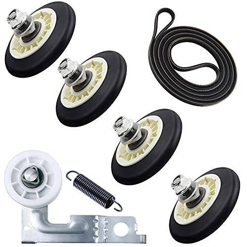 Upgraded Dryer Repair Kit Compatible with LG Kenmore Dryers Includes 4581EL2002C Dryer Drum Roller Assembly 4400EL2001A Dryer Belt and 4561EL3002A Dryer Motor Idler Pulley,Pictures 6, 7 are Fit Models