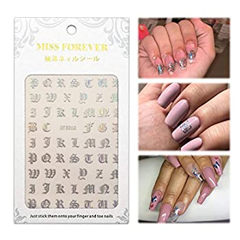 Sparkle Silver Sexy Nail Sticker Glue Prom Nail Ideas Decal Old English Gothic Text Font Letters Vinyl Nail Tattoo Decor