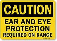 注意サイン-注意:範囲には耳と目の保護が必要です。通知のためのインチ通りの交通危険屋外の防水および防錆の金属錫の印