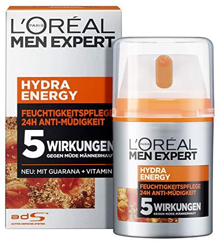 L'Oréal Men Expert Hydra Energy Feuchtigkeitspflege, die Gesichtscreme mit Guarana und Vitamin C ist die ideale Tages- und Nachtcreme, optimaler Anti-Müdigkeits-Effekt (2 x 50ml)