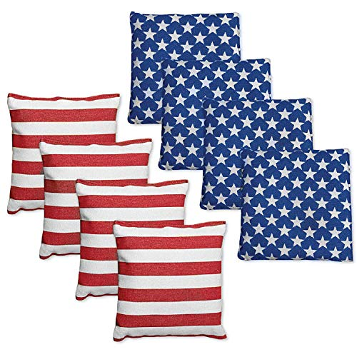 Punchau All Weather Cornhole Bean Bags - Set of 8 American Flag Bags for Corn Hole Toss Game - Regulation Size & Weight - 4 Stars & 4 Stripes