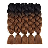 Ombre Braiding Hair Kanekalon 5pcs Jumbo Braiding Hair Extensions High Temperature 2 Tone T1B/Dark Brown Color Synthetic Hair(5pcs, T1B/Dark Brown)