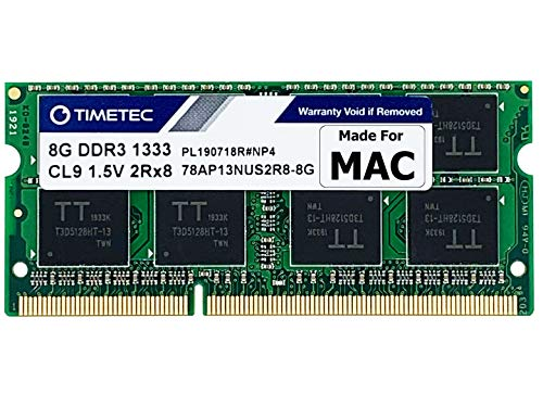 Timetec Hynix IC 8GB DDR3 1333MHz PC3-10600 SODIMM Memory Upgrade for MacBook Pro, iMac, Mac Mini (8GB)
