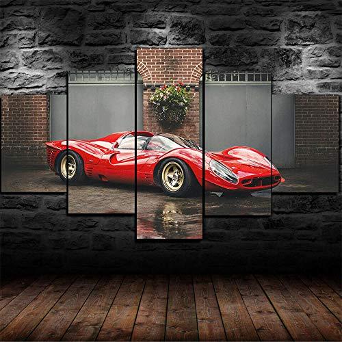 HGYG Moderno En Lienzo 5 Piezas XXL 150X80 Cm Póster Hermoso Ferrari 330 P4 de 1967 5 Piezas Material Tejido No Tejido Impresión Artística Imagen Gráfica Decor Pared